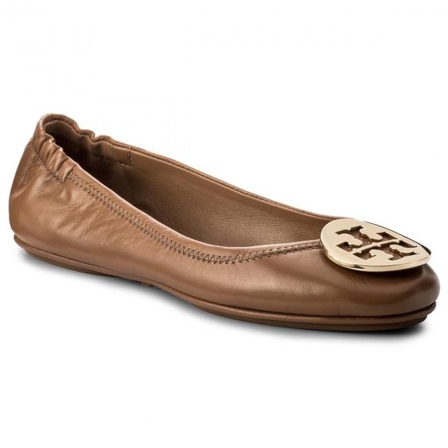 e87b74ad578a Flats TORY BURCH - Minnie Travel Ballet With Metal Logo 32880 Royal Tan Gold  232