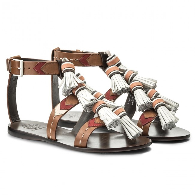 ab382f87637104 Sandals TORY BURCH - Weaver Tassel Sandal 51158685 Multi Tan Light Almond  242 - Casual sandals - Sandals - Mules and sandals - Women s shoes ...