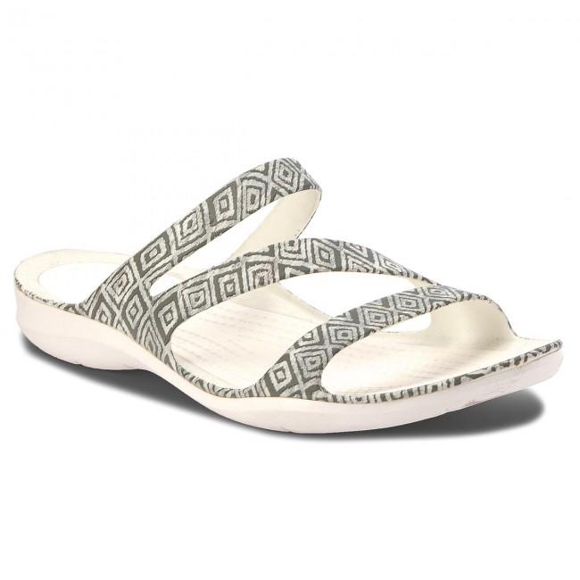 e6ecf5dd4b60a5 Slides CROCS - Swiftwater Graphic Sandal W 204461 Grey Diamond White ...