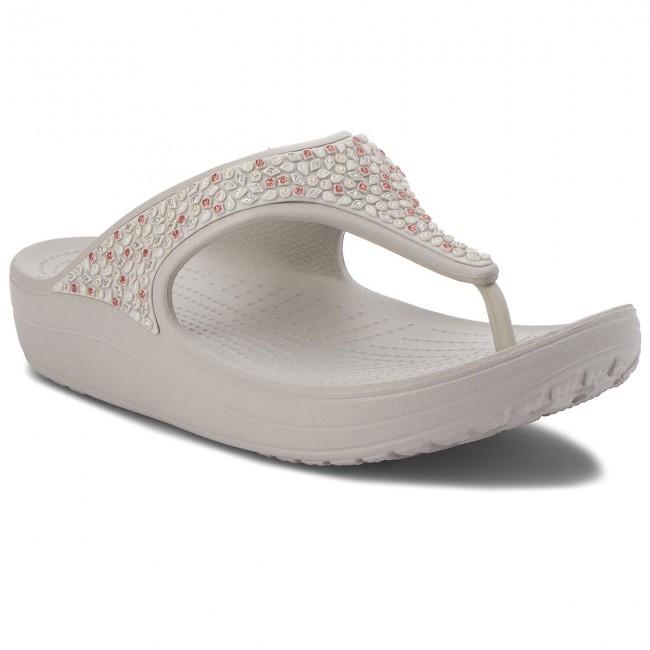 d6f19d4ee Slides CROCS - Sloane Embellished Flip 204181 Pearl White - Flip ...
