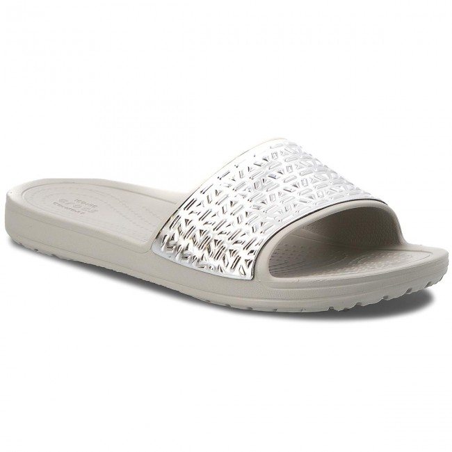 Crocs SLOANE GRAPHIC ETCHED SLIDE - Pool sliders - pearl white/silver