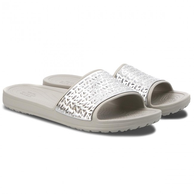 62faa3f85a9b9 Slides CROCS - Sloane Graphic Etched Slide W 205130 Pearl White Silver -  Casual mules - Mules - Mules and sandals - Women s shoes - www.efootwear.eu
