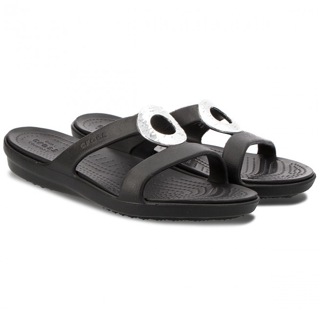 86835fffcec5a4 Slides CROCS - Sanrah Hammered Met Sandal W 205137 Black Black - Casual  mules - Mules - Mules and sandals - Women s shoes - www.efootwear.eu