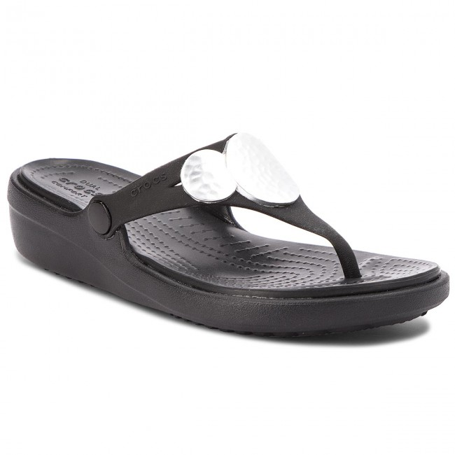 b72ca6c08beafa Slides CROCS. Sanrah Embellished Wedge Flip 204009 Black Silver Metallic