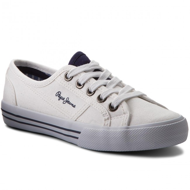 White 800 Plimsolls Basic Boy Laced PBS30334 PEPE JEANS Baker 00WUYq