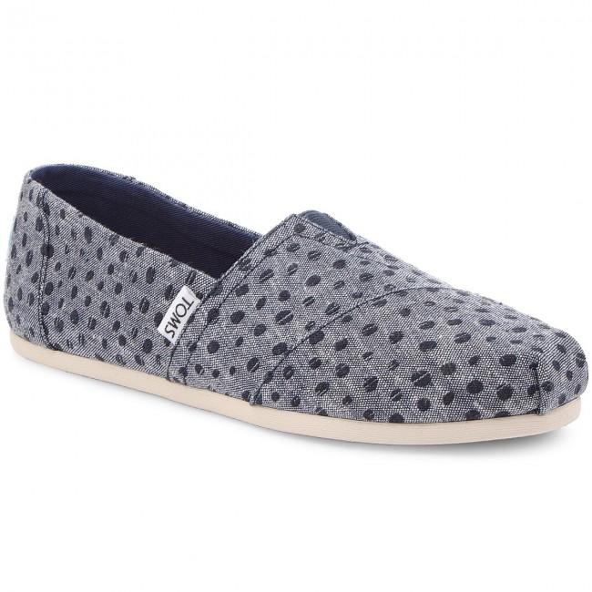 cd979f3a347 Shoes TOMS - Classic 10011652 Navy Slub Chambray Dots - Flats - Low ...