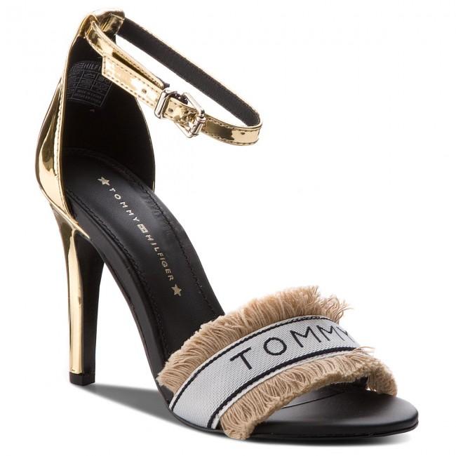 67e565fd5bb94 Sandals TOMMY HILFIGER - Mirror Metallic Heeled Sandal FW0FW02929 Light  Gold 708