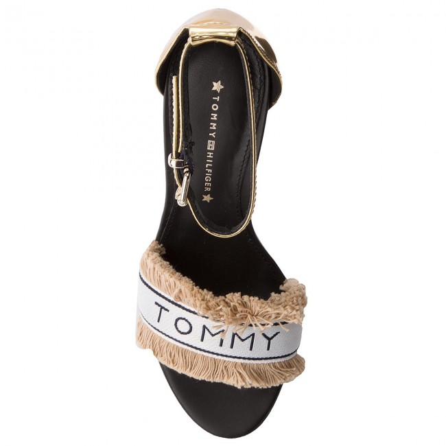 eaecae980aea6 Sandals TOMMY HILFIGER - Mirror Metallic Heeled Sandal FW0FW02929 Light  Gold 708 - Elegant sandals - Sandals - Mules and sandals - Women s shoes ...