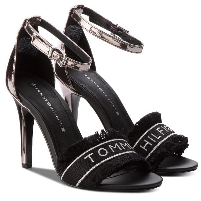 a26322b613b70 Sandals TOMMY HILFIGER - Mirror Metallic Heeled Sandal FW0FW02929 Black 990  - Elegant sandals - Sandals - Mules and sandals - Women s shoes -  www.efootwear. ...