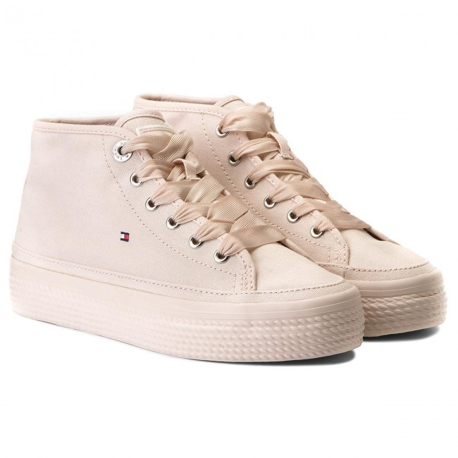Sneakers TOMMY HILFIGER - Pastel Mid Flatform Sneaker FW0FW02985 Silver Peony 642 p20BL
