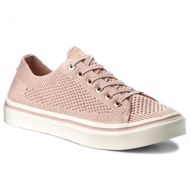 Plimsolls TOMMY HILFIGER. Knitted Light Weight Lace Up FW0FW03362 Dusty  Rose 502 83cdbdf1bd3