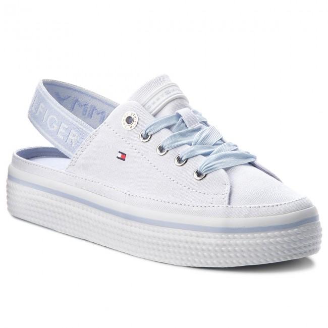 eeb7681d Sandals TOMMY HILFIGER - Pastel Sling Back Flatform FW0FW03377 White ...