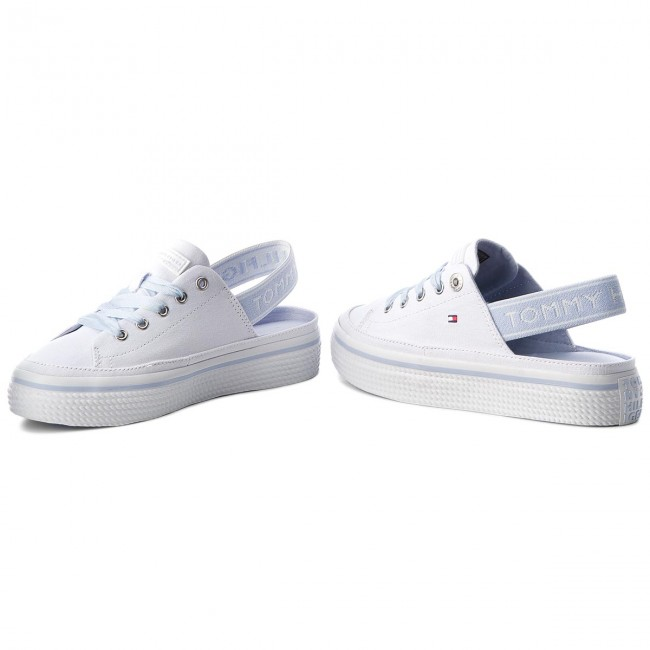 63bc4200 Sandals TOMMY HILFIGER - Pastel Sling Back Flatform FW0FW03377 White 100