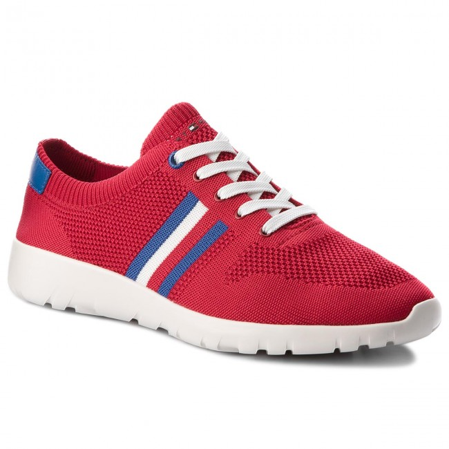 Sneakers TOMMY HILFIGER. Extra Lighweight Knitted Runner FM0FM01621 Tango  Red 611 4ad282d69a6