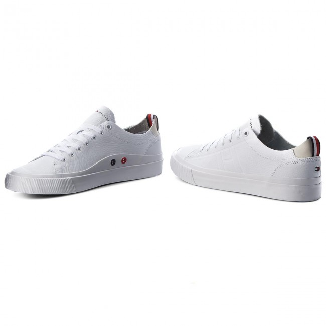 355cddbb3843 Sneakers TOMMY HILFIGER - Unlined Low Cut Leather Sneaker FM0FM01627 White  100