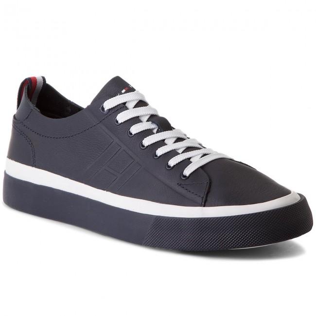 a777403085f390 Sneakers TOMMY HILFIGER - Unlined Low Cut Leather Sneaker FM0FM01627  Midnight 403