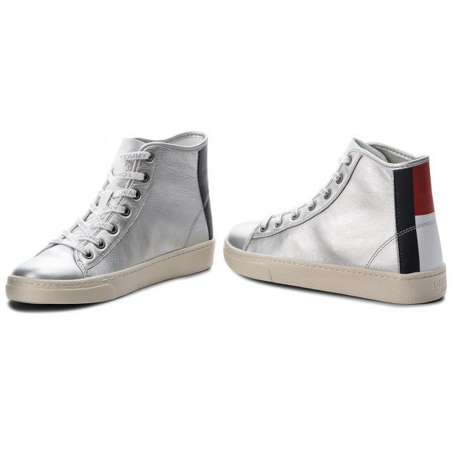 Silver TOMMY Leather Mid 000 JEANS Light Sneakers EN0EN00231 WRZfqH4f1