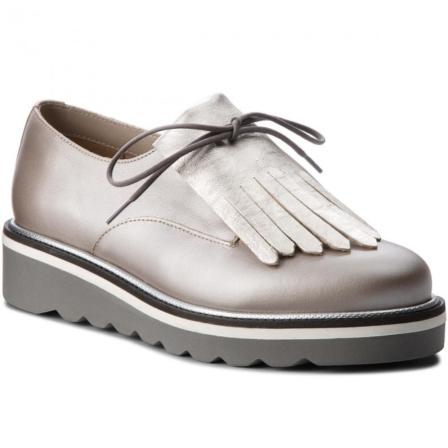 cb2ec21dad574 Oxfords TOMMY HILFIGER - Pearlized Leather Lace Up Shoe FW0FW02937 Moonbeam  009