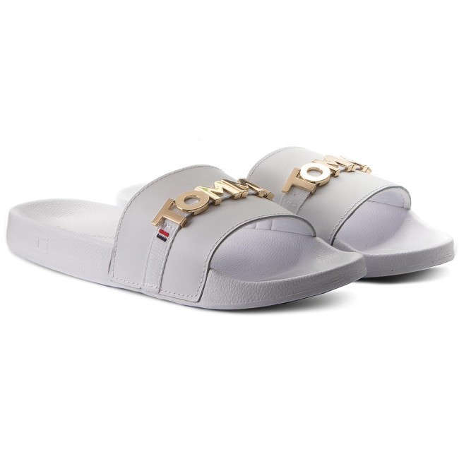 773e85bc4ee9c7 Slides TOMMY HILFIGER - Beach Slide FW0FW02965 White 100 - Casual mules -  Mules - Mules and sandals - Women s shoes - www.efootwear.eu