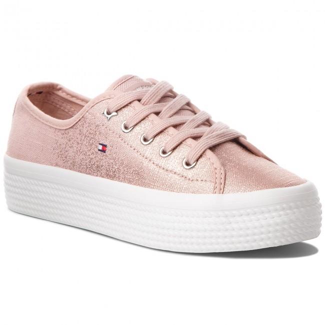 Plimsolls TOMMY HILFIGER. Metallic Flatform Sneaker FW0FW02984 Dusty Rose  502 52da5b5fa4e