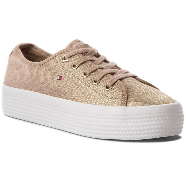 82b322b7 Plimsolls TOMMY HILFIGER - Metallic Flatform Sneaker FW0FW02984 ...