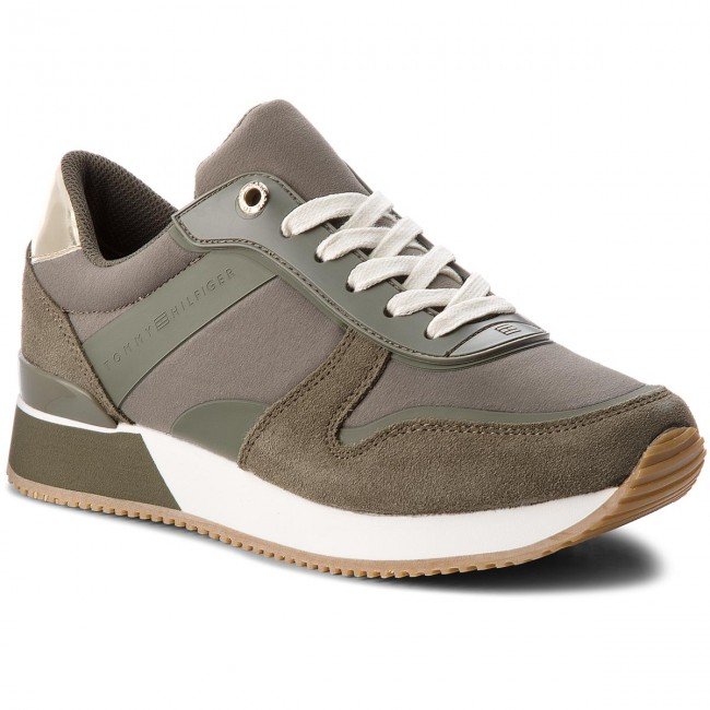 Sneakers TOMMY HILFIGER - Mixed Material Lifestyle Sneaker FW0FW03011 Dusty Olive 011 BI7PFsR