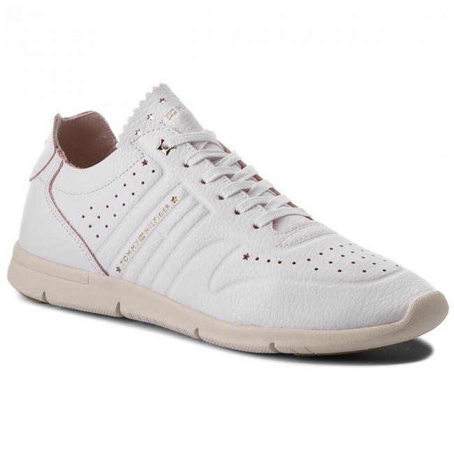 28062b2831b191 Sneakers TOMMY HILFIGER - Leather Light Weight Sneaker FW0FW03017 White 100