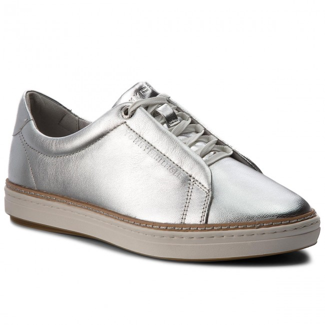 Sneakers TOMMY HILFIGER - Metallic City Sneaker FW0FW03359 Silver ... 5305459e3cb