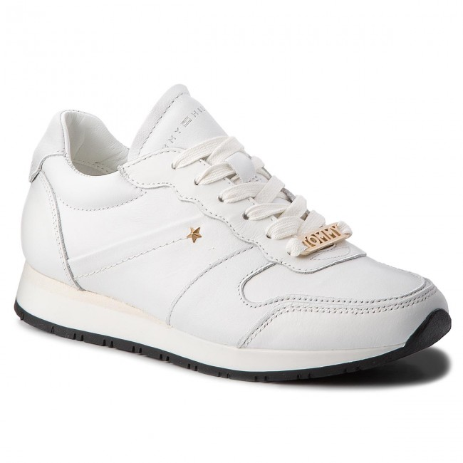 1f9f76f0d639f Sneakers TOMMY HILFIGER - Leather Premium Sneaker FW0FW03385 Whisper White  121