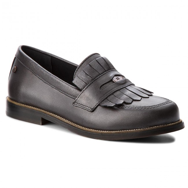fbc569400ff7b Shoes TOMMY HILFIGER - Metallic Leather Penny Loafer FW0FW03402 Dark Silver  015