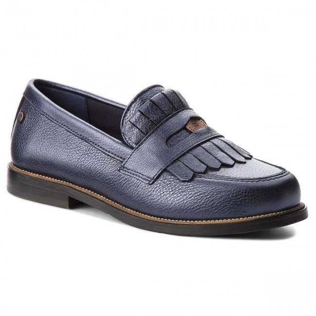 2b08e58d60ac74 Shoes TOMMY HILFIGER - Metallic Leather Penny Loafer FW0FW03402 Tommy Navy  406