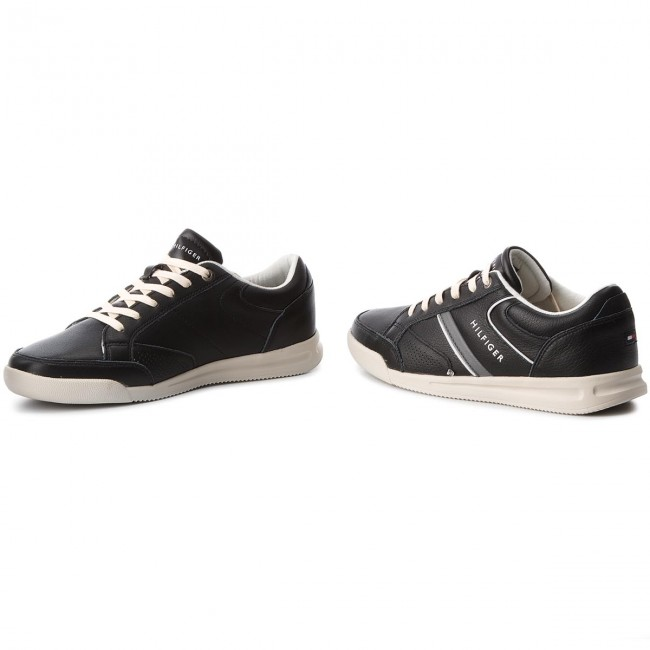 dda4c06c27 Sneakers TOMMY HILFIGER - Corporate Detail Leather Sneaker FM0FM01620 Black  990
