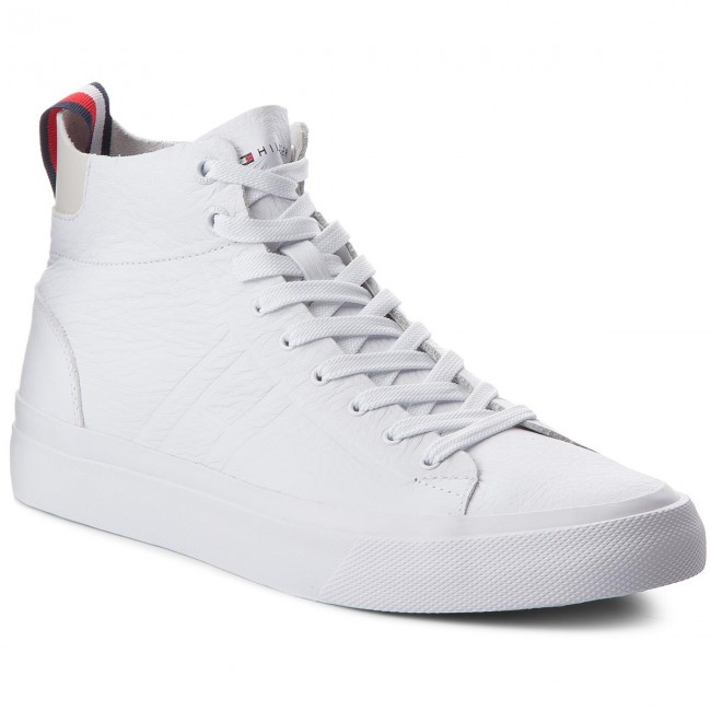 5be57d142580 Sneakers TOMMY HILFIGER. Unlined Mid Cut Leather Sneaker FM0FM01626 White  100