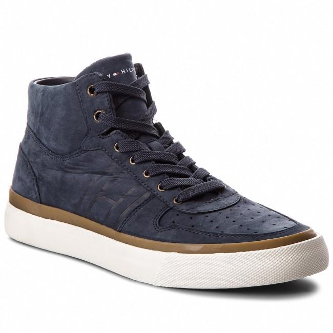 Sneakers TOMMY HILFIGER - Unlined Mid Cut Nubuck Sneaker FM0FM01628  Midnight 403 4e0d3e0857b