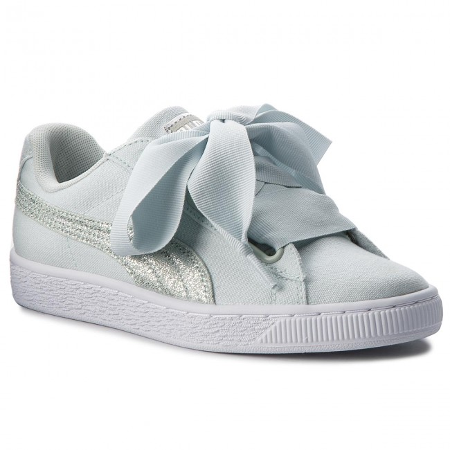 f3f4a67335 Sneakers PUMA - Basket Heart Canvas 366495 03 Blue Flower White Silver