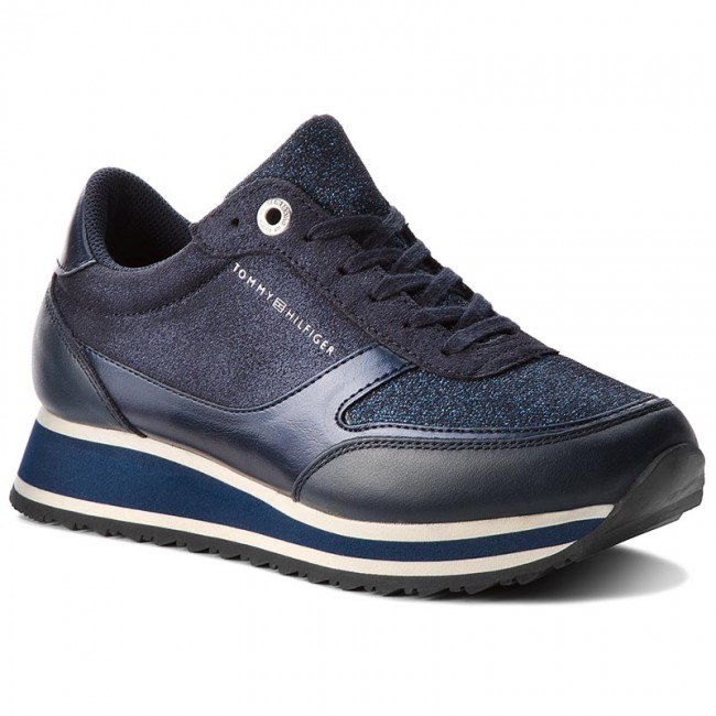 c0f267e42f3a3b Sneakers TOMMY HILFIGER - Metallic Retro Runner FW0FW03337 Midnight ...