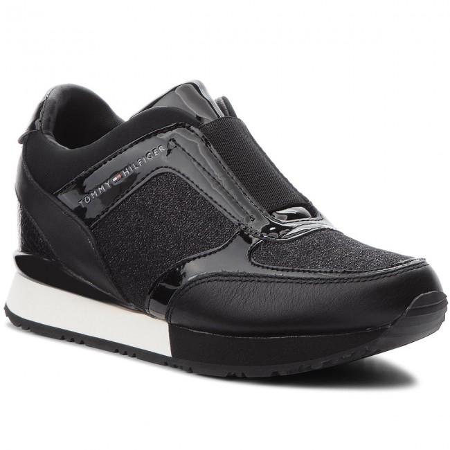 d9ede03cdc3d7 Sneakers TOMMY HILFIGER - Elastic Wedge Sneaker FW0FW03553 Black 990 ...
