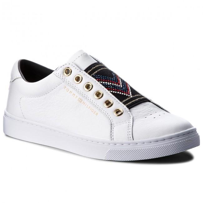 6fee45447 Sneakers TOMMY HILFIGER - Stud Elastic Essential Sneaker FW0FW03592 White  100