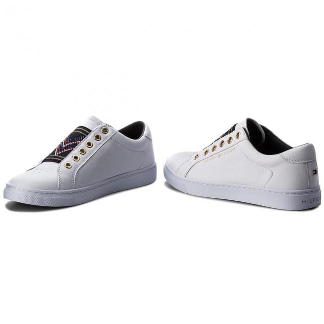 e0b250e55ae2c Sneakers TOMMY HILFIGER - Stud Elastic Essential Sneaker FW0FW03592 White  100