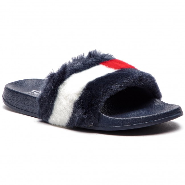 3c9a22e14 Slides TOMMY JEANS - Funny Fur Pool Slide EN0EN00287 Midnight 403 ...