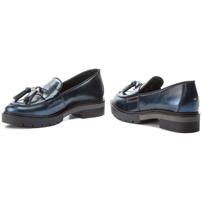 d11c734baaea Shoes TOMMY HILFIGER - Metallic Leather Loa FW0FW03142 Midnight 403 ...