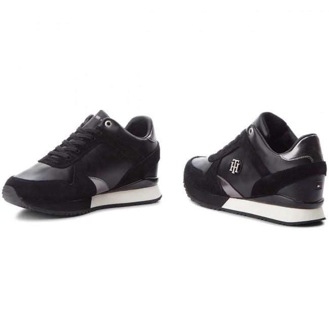 4da67f80ae83d Sneakers TOMMY HILFIGER - Camo Metallic Wedge Sneaker FW0FW03264 Black 990