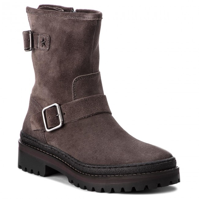 9515ea67a1a2 Boots TOMMY HILFIGER - Basic Biker Boot Sue FW0FW03308 Steel Grey ...