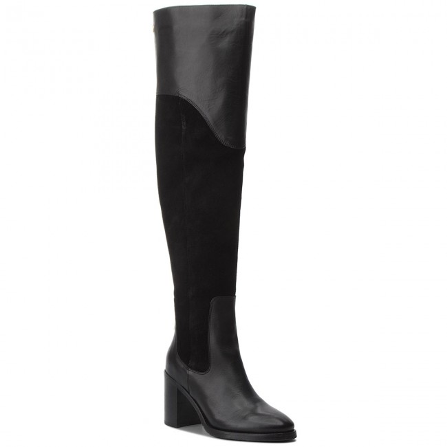 Over-Knee Boots TOMMY HILFIGER - Material Mix Heeled FW0FW03453 ... 1a7bb95d11