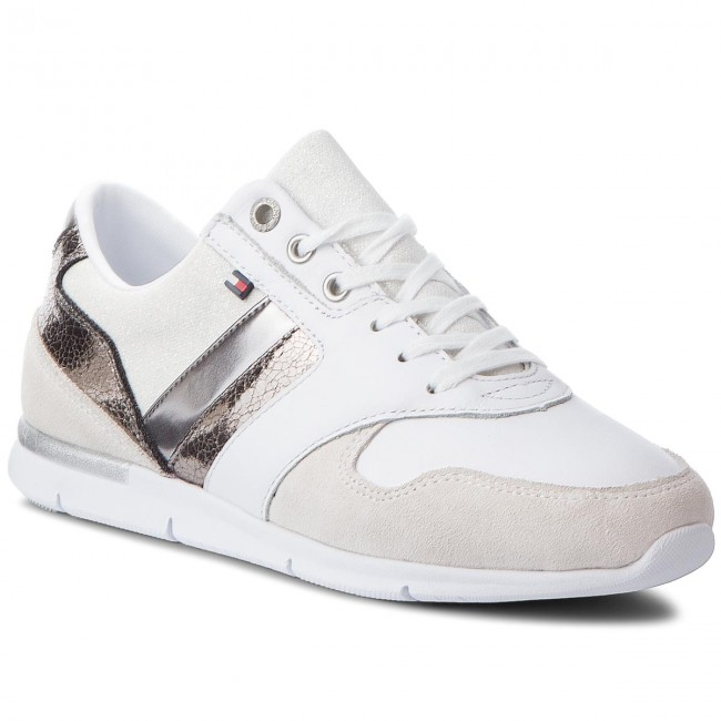 fd43e5cd9a9bd9 Sneakers TOMMY HILFIGER - Leather Light Sneaker FW0FW03554 White Silver 901