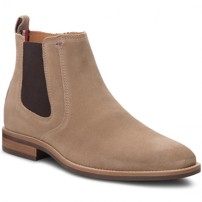 90ffdeccee11 Boots TOMMY HILFIGER - Essential Suede Chel FM0FM01087 Taupe Grey ...