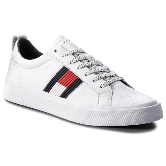 9dc5876eee9c0c Sneakers TOMMY HILFIGER. Flag Detail Leather Sneaker FM0FM01712 White 100