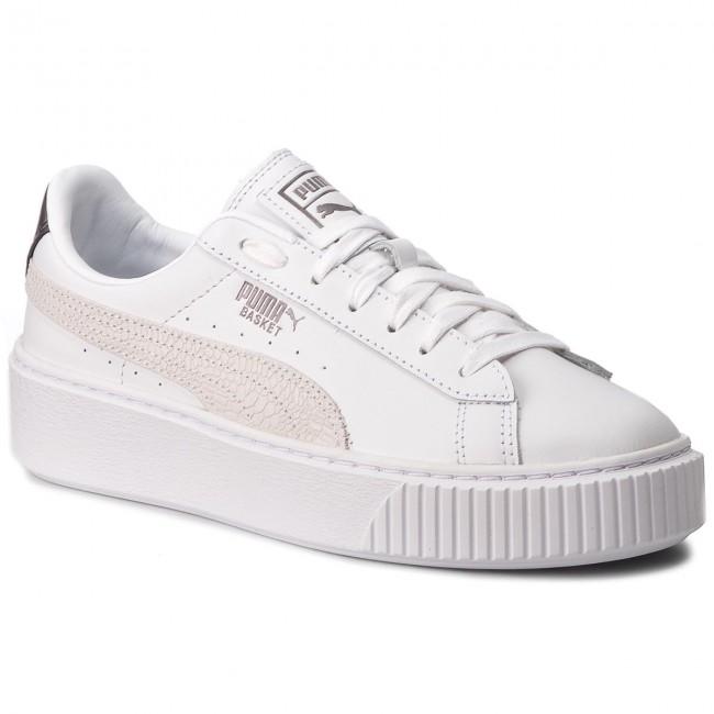 Sneakers PUMA - Basket Platform Euphoria Metal 367850 01 Puma White/Puma  Aged Silver