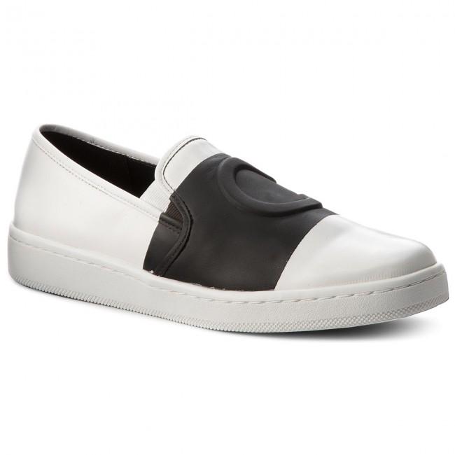 Calvin Klein DEBORAH - Slip-ons - platinum white/black