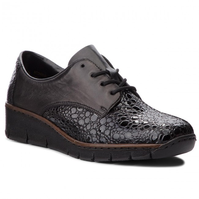 Kombi Schwarz RIEKER Low 53710 Wedge shoes heeled 45 Shoes wPzdIqtHxP